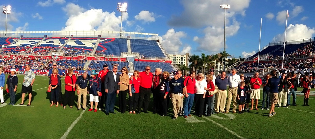 "FAU Foundation, recognition of their efforts and financial support<br /> Date Taken: Saturday December 1, 2012, 4pm<br /> Photo Dimensions: 5616 x 2479 pixels, Panorama Image<br /> Useage:  High Resolution for 20"" to 36"" and larger prints and graphics<br /> File Size:  9.99 MB<br /> Color Space:  sRGB"