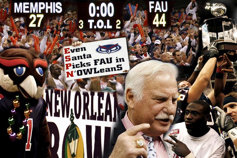 FAU Football vs Memphsis, New Orleans BOWL, December 21, 2007, 7pm, FAU 44, Memphsis 27.