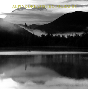 Called REFLECTIONS in BLACK & WHITE was shot at Dawn in the town of Mineral Wa.  The lake still has the mist rising and the clouds sitting about 10,00 feet still gave me a shot at Mt Rainier.  The beauty of this lake is breathtaking!