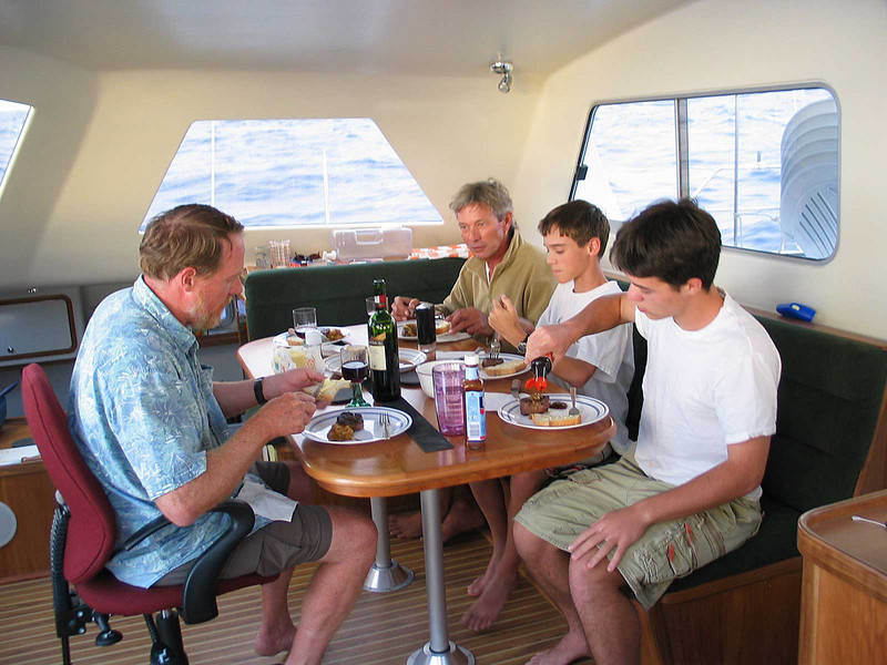 The boys chow down on yet one more grilled steak dinner. South Atlantic, Javelin