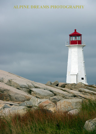 LIGTHOUSE ROCKS & GRASS IN PEGGYS COVE