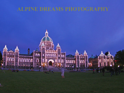 This is a shot of the famous Government Building in Victoria on Vancouver Island minutes after Sunset. The lights bring out the best in this expansive building.