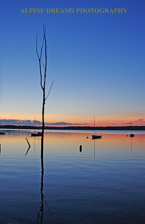 Called Twilight Reflections and also taken at the Manasquan Resivoir I loved the reflection of the dead tree as well as the mast from the small sailboats.