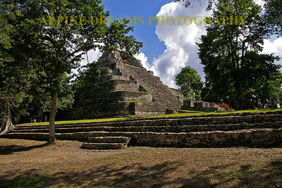This Mayan Pyramid stands out against the terraced land and the bright blue sky.  This was shot near Costa Maya in Mexico.