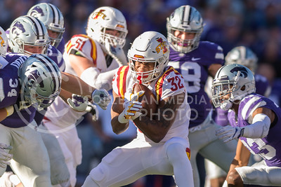 Iowa State running back David Montgomery reacts to the oncoming tackle during the football game against Iowa State at Bill Snyder Family Stadium on Nov. 25, 2017. (George Walker | Collegian Media Group)