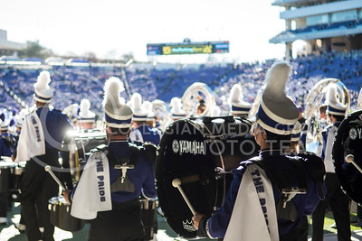 The Kansas State Wildcat Pride Marching Band marches out to play for Kansas State students at Bill Snyder Family Stadium for the homegame against the Iowa State Cyclones in Manhattan, Kan., on Nov. 25, 2017. (Olivia Bergmeier | Collegian Media Group)