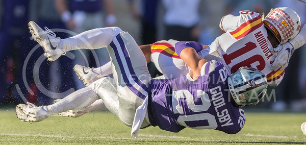 Sophomore defensive back Denzel Goolsby tackles Iowa State wide receiver Marchie Murdock during the football game against Iowa State at Bill Snyder Family Stadium on Nov. 25, 2017. (George Walker | Collegian Media Group)