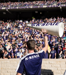 The Kansas State Wildcat Cheer Squad cheers with Kansas State students for the homegame against the Iowa State Cyclones at Bill Snyder Family Stadium in Manhattan, Kan., on Nov. 25, 2017. (Olivia Bergmeier | Collegain Media Group)