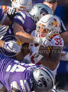 Iowa State running back David Montgomery is tackled during the football game between K-State and Iowa State at Bill Snyder Family Stadium on Nov. 25, 2017. (George Walker | Collegian Media Group)