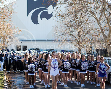 The Kansas State Wildcat Pride Marching Band prepares to march to Bill Snyder Family Stadium to perform for the homegame against the Iowa State Cyclones in Manhattan, Kan., on Nov. 25, 2017. (Olivia Bergmeier | Collegian Media Group)