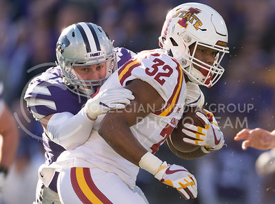 Iowa State running back David Montgomery is tackled by K-State senior linebacker Jayd Kirby during the football game between K-State and Iowa State at Bill Snyder Family Stadium on Nov. 25, 2017. (George Walker | Collegian Media Group)