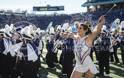 Haley Rapp, one of the Kansas State Wildcat Twirlers, performs for Kansas State students at Bill Snyder Family Stadium for the homegame against the Iowa State Cyclones in Manhattan, Kan., on Nov. 25, 2017. (Olivia Bergmeier | Collegian Media Group)