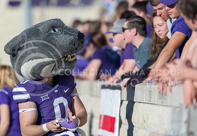 Willie the Wildcat signs a shoe during the football game against Iowa State at Bill Snyder Family Stadium on Nov. 25, 2017. (George Walker | Collegian Media Group)