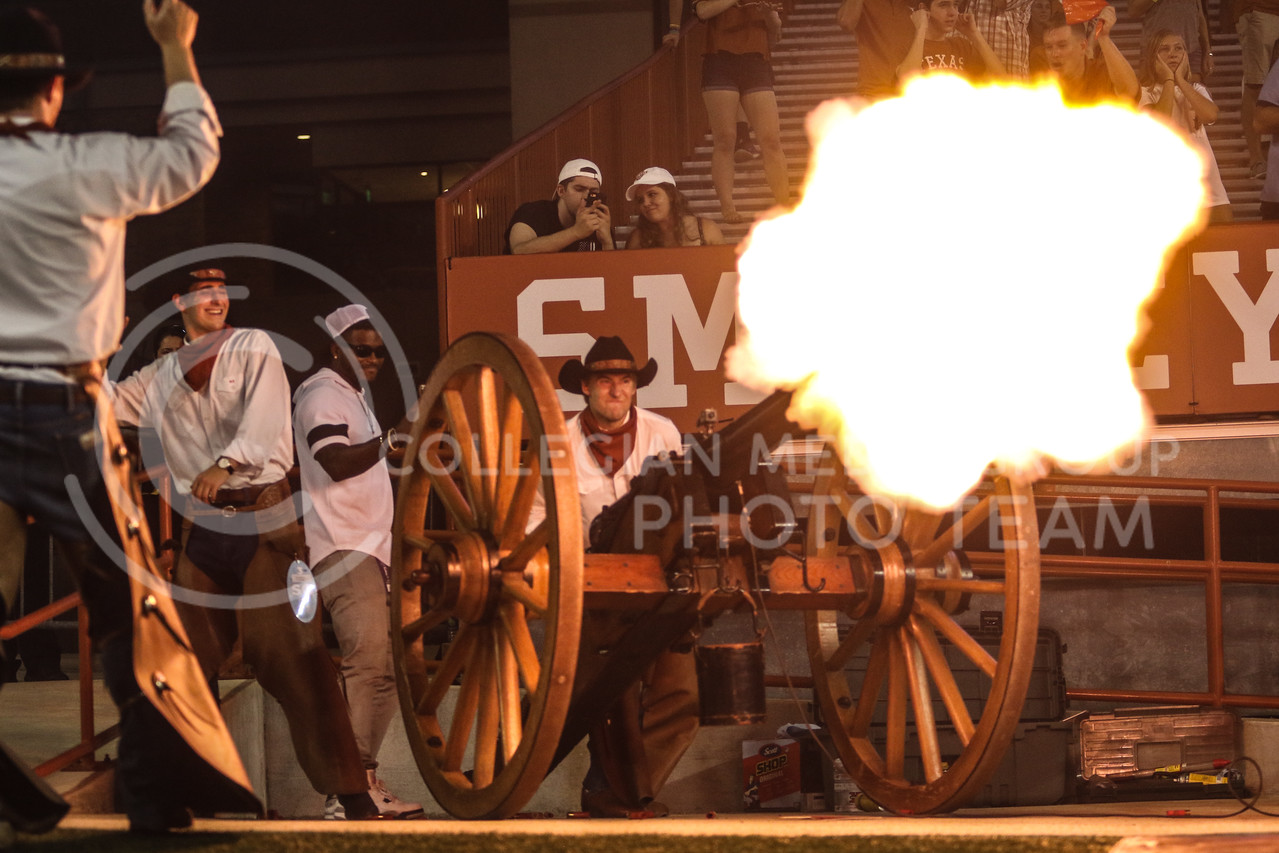 AUSTIN, TEXAS - OCTOBER 7: UT Austin Cowboys fire the cannon after UT Austin scores a touchdown during the football match between Kansas State University and University of Texas, Austin at Darrell K Royal Stadium on October 7th, 2017. (Photo by Cooper Kinley | Collegian Media Group)
