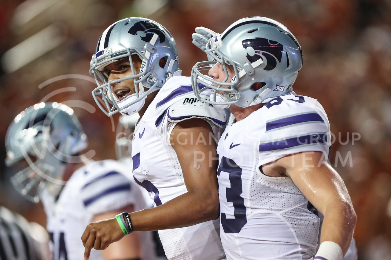 AUSTIN, TEXAS - OCTOBER 7: K-State quarter back #5 Alex Delton moments after rushing for a first down during the football match between Kansas State University and University of Texas, Austin at Darrell K Royal Stadium on October 7th, 2017. (Photo by Cooper Kinley | Collegian Media Group)