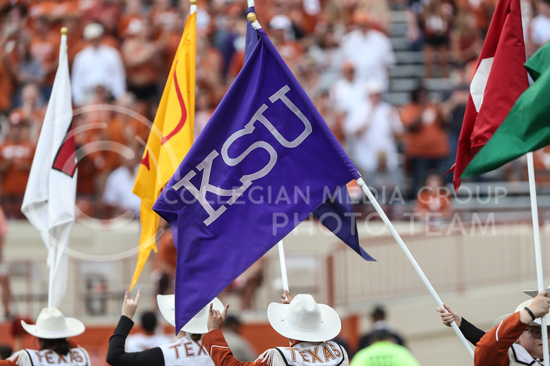 AUSTIN, TEXAS - OCTOBER 7: The Longhorn Band holds up a K-State flag before the football match between Kansas State University and University of Texas, Austin at Darrell K Royal Stadium on October 7th, 2017. (Photo by Cooper Kinley | Collegian Media Group)