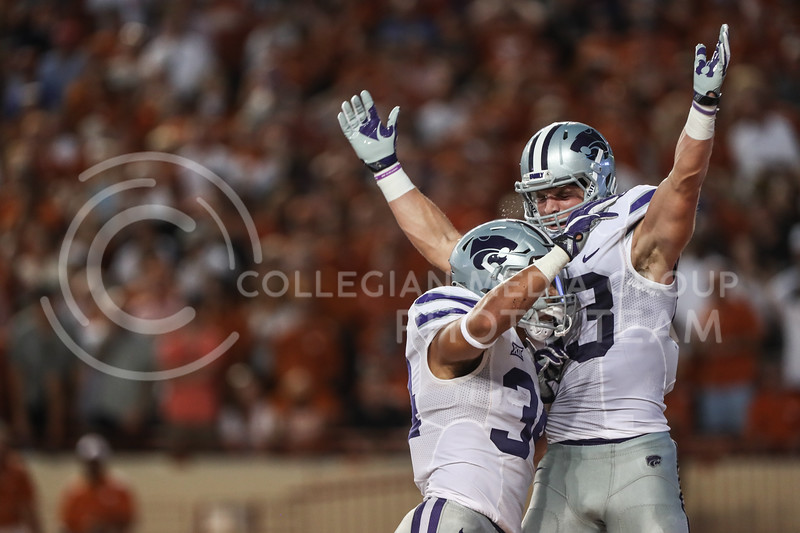 AUSTIN, TEXAS - OCTOBER 7: K-State wide receiver #83 Dalton Schoen celebrates after scoring a touchdown during the football match between Kansas State University and University of Texas, Austin at Darrell K Royal Stadium on October 7th, 2017. (Photo by Cooper Kinley | Collegian Media Group)