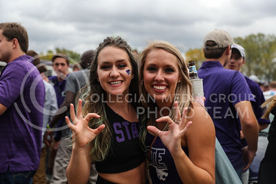 Victoria Unrien (Left) and Makenzie Bexton (Right) at a tailgate before the University of Oklahoma plays Kansas State University in football at Bill Snyder Family Stadium on October 21, 2017 (Photo by Cooper Kinley | Collegian Media Group)