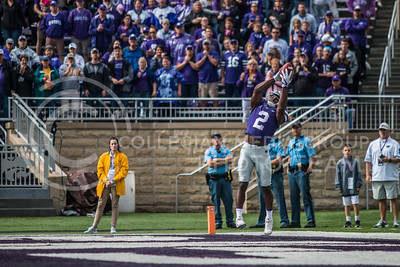 D.J. Reed, junior defensive back, at Bill Snyder Family Stadium on Oct. 14, 2017. (Logan Wassall | Collegian Media Group)