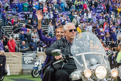 General Myers on a motorcycle at Bill Snyder Family Stadium on Oct. 14, 2017. (Logan Wassall | Collegian Media Group)