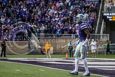 Byron Pringle, junior wide reciever, at Bill Snyder Family Stadium on Oct. 14, 2017. (Logan Wassall | Collegian Media Group)