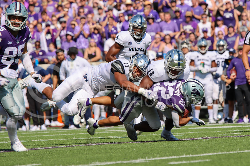 Deuce Vaugh, Sophomore in Business Administration, rushes for a wildcat first down against the University of Nevada Reno on September 18th.