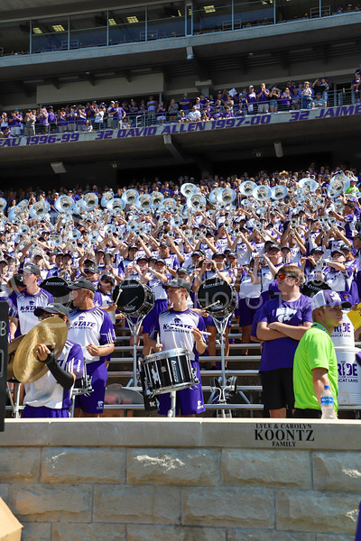 K-State's marching band playing at the September 18, 2021 game against the University of Nevada.