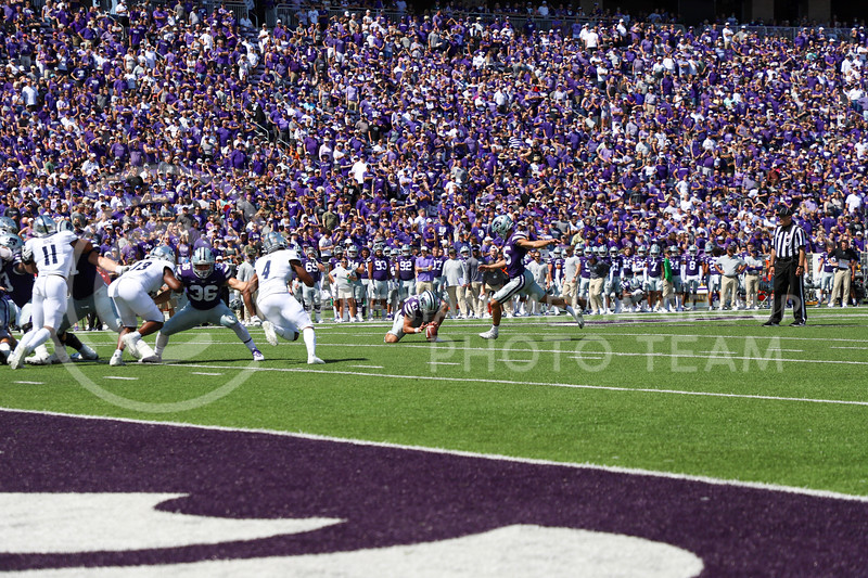 Junior kicker Taiten Winkel goes for the converstion point at the September 18, 2021 game against the University of Nevada.