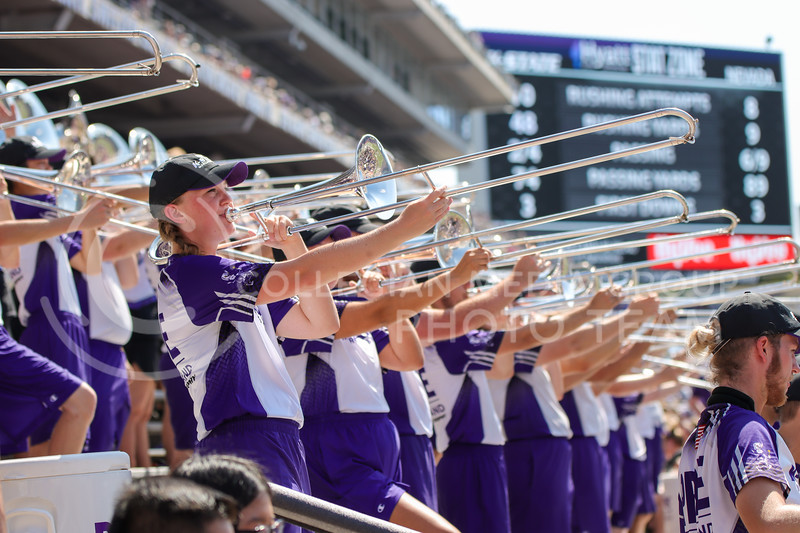 Trombones glistening, the Pride hypes up the crowd at the K-State vs. University of Nevada game on September 18th (Kendall Spencer | Collegian Media Group).