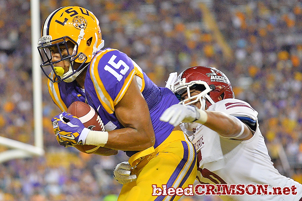 September 5, 2014: LSU Tigers wide receiver Malachi Dupre (15) catches a touchdown during a game between New Mexico State and No. 17/18 LSU at Tiger Stadium in Baton Rouge, LA.