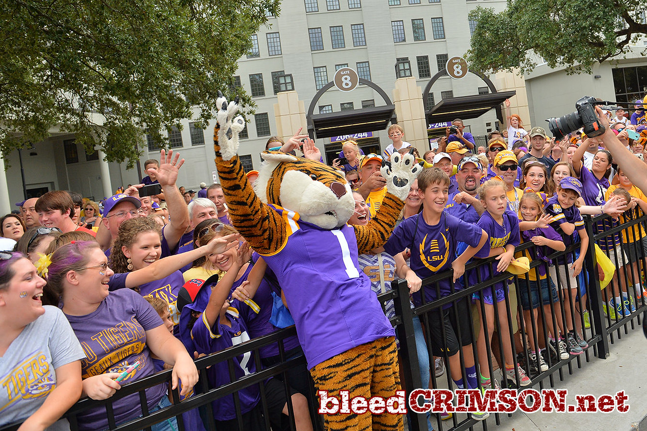 September 27, 2014: The LSU mascot poses for a photo with fans before a game between New Mexico State and No. 17/18 LSU at Tiger Stadium in Baton Rouge, LA.