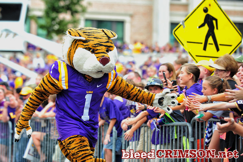 September 27, 2014: The LSU mascot greets the crowd before a game between New Mexico State and No. 17/18 LSU at Tiger Stadium in Baton Rouge, LA.