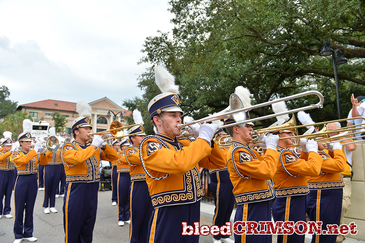 September 27, 2014: The LSU marching band performs during the Tiger Walk before a game between New Mexico State and No. 17/18 LSU at Tiger Stadium in Baton Rouge, LA.
