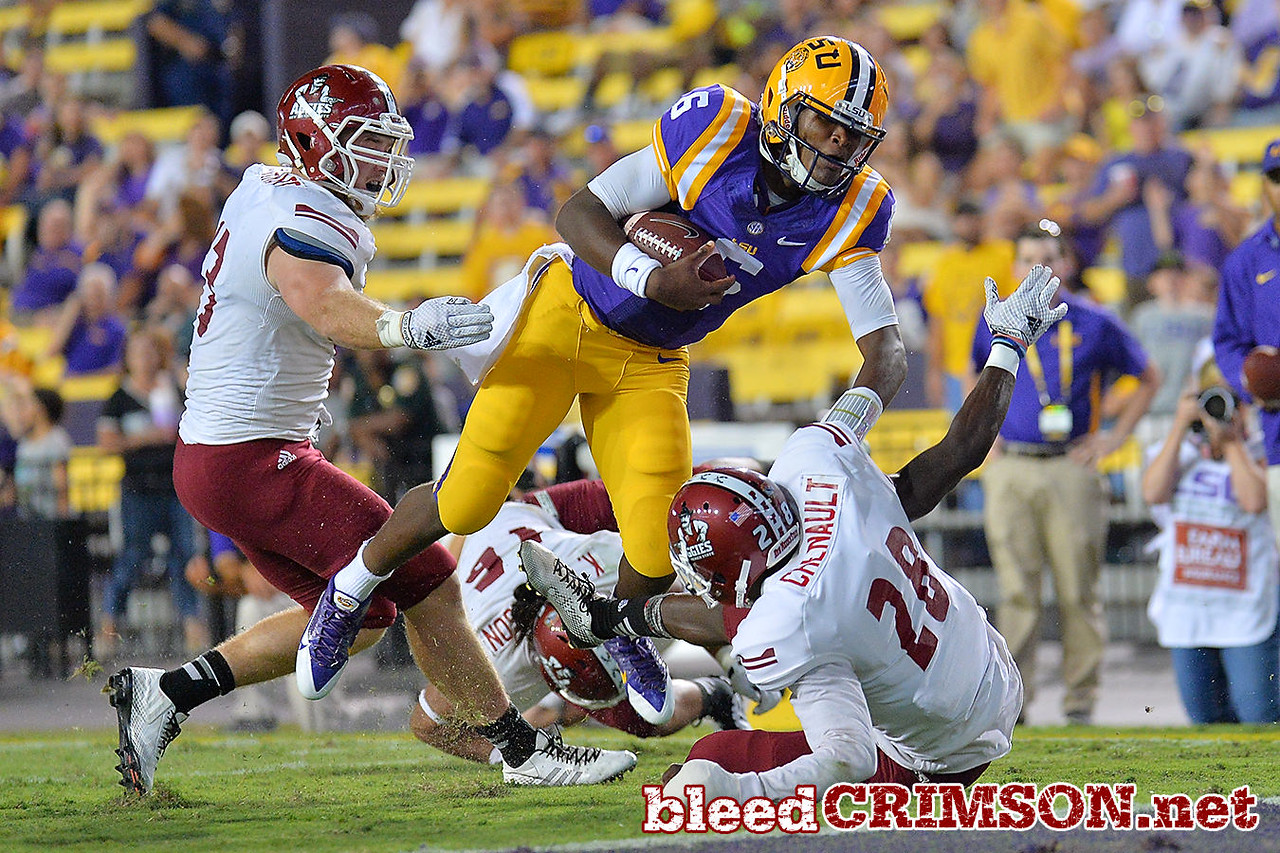 September 5, 2014: LSU Tigers quarterback Brandon Harris (6) dives for the endzone during a game between New Mexico State and No. 17/18 LSU at Tiger Stadium in Baton Rouge, LA.