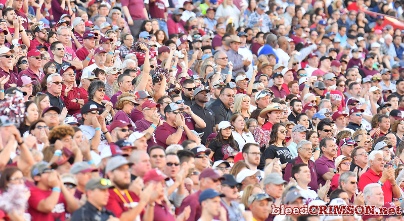 December 29, 2017; Tucson, AZ, USA;  New Mexico State Aggies fans cheer during the team's game against the Utah State Aggies during the NOVA Home Loans Arizona Bowl at Arizona Stadium in Tucson, Ariz.  Photo by Sam Wasson/bleedCrimson.net
