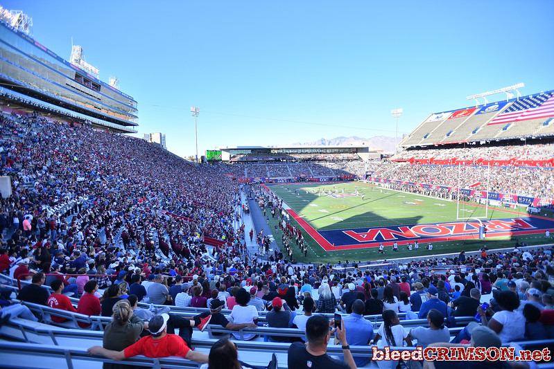 December 29, 2017; Tucson, AZ, USA;  A general view of the stadium shows the New Mexico State Aggies crowd on the left during their game against the Utah State Aggies during the NOVA Home Loans Arizona Bowl at Arizona Stadium in Tucson, Ariz.  Photo by Sam Wasson/bleedCrimson.net