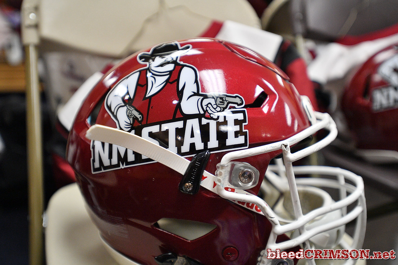 December 29, 2017; Tucson, AZ, USA;  A general view of the New Mexico State Aggies helmet shown in the locker room before their game against the Utah State Aggies in the NOVA Home Loans Arizona Bowl at Arizona Stadium in Tucson, Ariz.  Photo by Sam Wasson/bleedCrimson.net