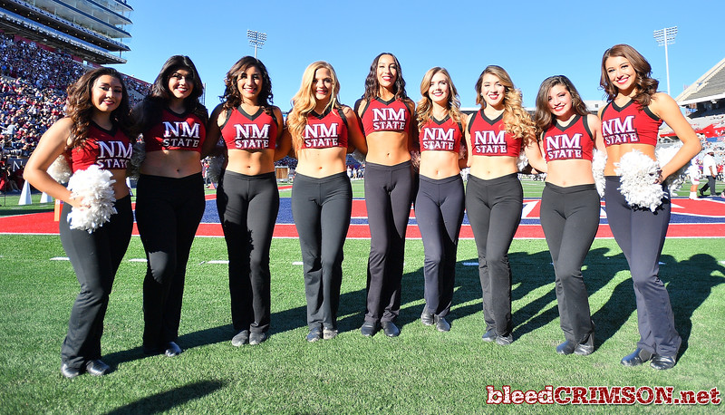 December 29, 2017; Tucson, AZ, USA;  The New Mexico State Aggies Sundancers pose for a photo before the team's game against the Utah State Aggies during the NOVA Home Loans Arizona Bowl at Arizona Stadium in Tucson, Ariz.  Photo by Sam Wasson/bleedCrimson.net