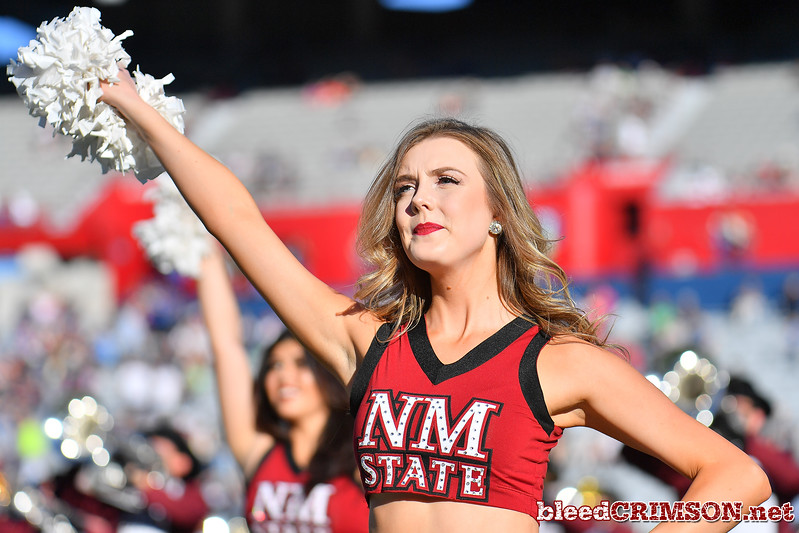 December 29, 2017; Tucson, AZ, USA;  A New Mexico State Aggies Sundancer performs before the team's game against the Utah State Aggies during the NOVA Home Loans Arizona Bowl at Arizona Stadium in Tucson, Ariz.  Photo by Sam Wasson/bleedCrimson.net