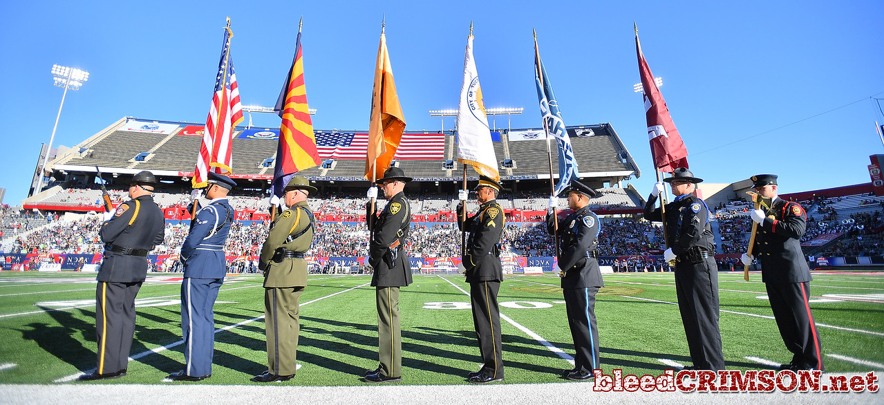 December 29, 2017; Tucson, AZ, USA;  A general view of the pregame ceremony before the NOVA Home Loans Arizona Bowl game between the New Mexico State Aggies and the Utah State Aggies at Arizona Stadium in Tucson, Ariz.  Photo by Sam Wasson/bleedCrimson.net