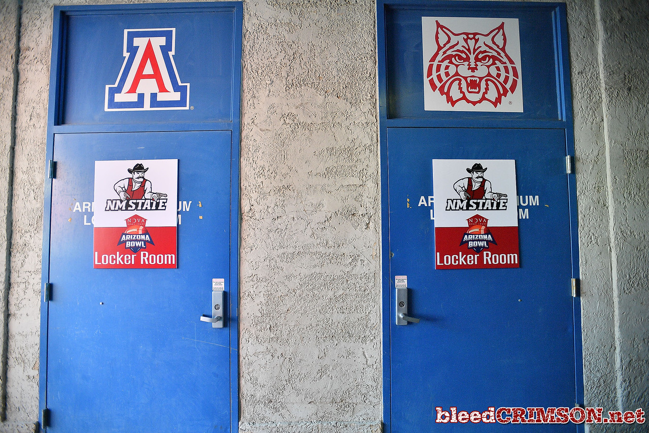 December 29, 2017; Tucson, AZ, USA;  A general view of the New Mexico State Aggies' locker room before their game against the Utah State Aggies before the NOVA Home Loans Arizona Bowl at Arizona Stadium in Tucson, Ariz.  Photo by Sam Wasson/bleedCrimson.net