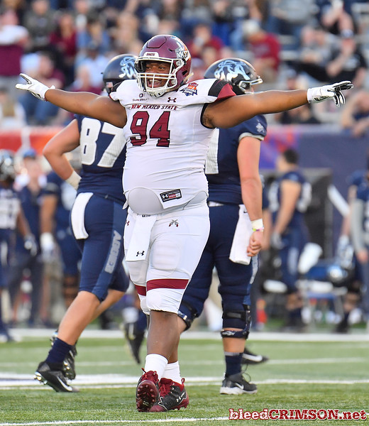 December 29, 2017; Tucson, AZ, USA;  New Mexico State Aggies defensive lineman DeShawnte Lloyd (94) celebrates after the team makes a stop on third down against the Utah State Aggies during the NOVA Home Loans Arizona Bowl at Arizona Stadium in Tucson, Ariz.  Photo by Sam Wasson/bleedCrimson.net