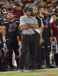 LAS CRUCES, NEW MEXICO - OCTOBER 05, 2019: Head coach Doug Martin of the New Mexico State Aggies looks on during his team's game against the Liberty Flames at Aggie Memorial Stadium on October 05, 2019 in Las Cruces, New Mexico.  (Photo by Sam Wasson)