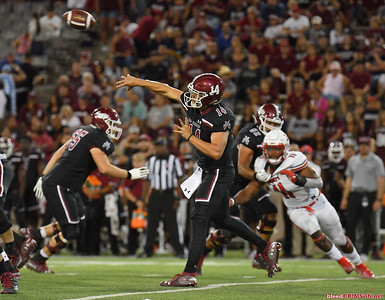LAS CRUCES, NEW MEXICO - OCTOBER 05, 2019:  Quarterback Josh Adkins #14 of the New Mexico State Aggies passes against the Liberty Flames during their game at Aggie Memorial Stadium on October 05, 2019 in Las Cruces, New Mexico.  (Photo by Sam Wasson)