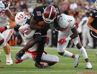 LAS CRUCES, NEW MEXICO - OCTOBER 05, 2019:  running back Christian Gibson #25 of the New Mexico State Aggies runs for a gain against defensive lineman Jessie Lemonier #11 and cornerback Javon Scruggs #1 of the Liberty Flames during their game at Aggie Memorial Stadium on October 05, 2019 in Las Cruces, New Mexico.  (Photo by Sam Wasson)