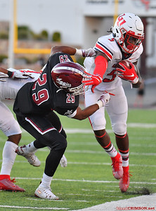 LAS CRUCES, NEW MEXICO - OCTOBER 05, 2019:  wide Receiver DJ Stubbs #5 of the Liberty Flames stiff arms defensive back Jared Phipps #29 of the New Mexico State Aggies during their game at Aggie Memorial Stadium on October 05, 2019 in Las Cruces, New Mexico.The Flames defeated the Aggies 20-13.  (Photo by Sam Wasson)