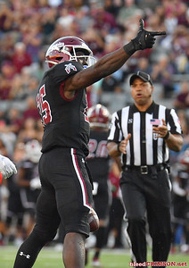 LAS CRUCES, NEW MEXICO - OCTOBER 05, 2019:  Running back Christian Gibson #25 of the New Mexico State Aggies gestures after rushing for a first down against the Liberty Flames during their game at Aggie Memorial Stadium on October 05, 2019 in Las Cruces, New Mexico.  (Photo by Sam Wasson)