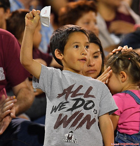 LAS CRUCES, NEW MEXICO - OCTOBER 05, 2019:  A New Mexico State Aggies fan rings a cowbell during the team's game against the Liberty Flames at Aggie Memorial Stadium on October 05, 2019 in Las Cruces, New Mexico.  (Photo by Sam Wasson)