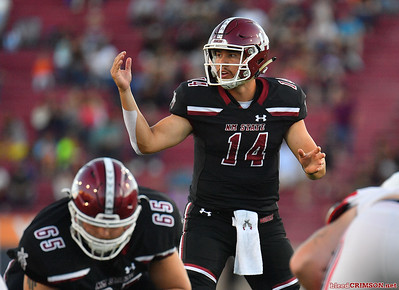 LAS CRUCES, NEW MEXICO - OCTOBER 05, 2019:  Quarterback Josh Adkins #14 of the New Mexico State Aggies signals a play during his team's game against the Liberty Flames at Aggie Memorial Stadium on October 05, 2019 in Las Cruces, New Mexico.  (Photo by Sam Wasson)