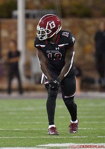 LAS CRUCES, NEW MEXICO - OCTOBER 05, 2019:  Wide receiver Tony Nicholson #13 of the New Mexico State Aggies waits for the snap during his team's game against the Liberty Flames at Aggie Memorial Stadium on October 05, 2019 in Las Cruces, New Mexico.  (Photo by Sam Wasson)